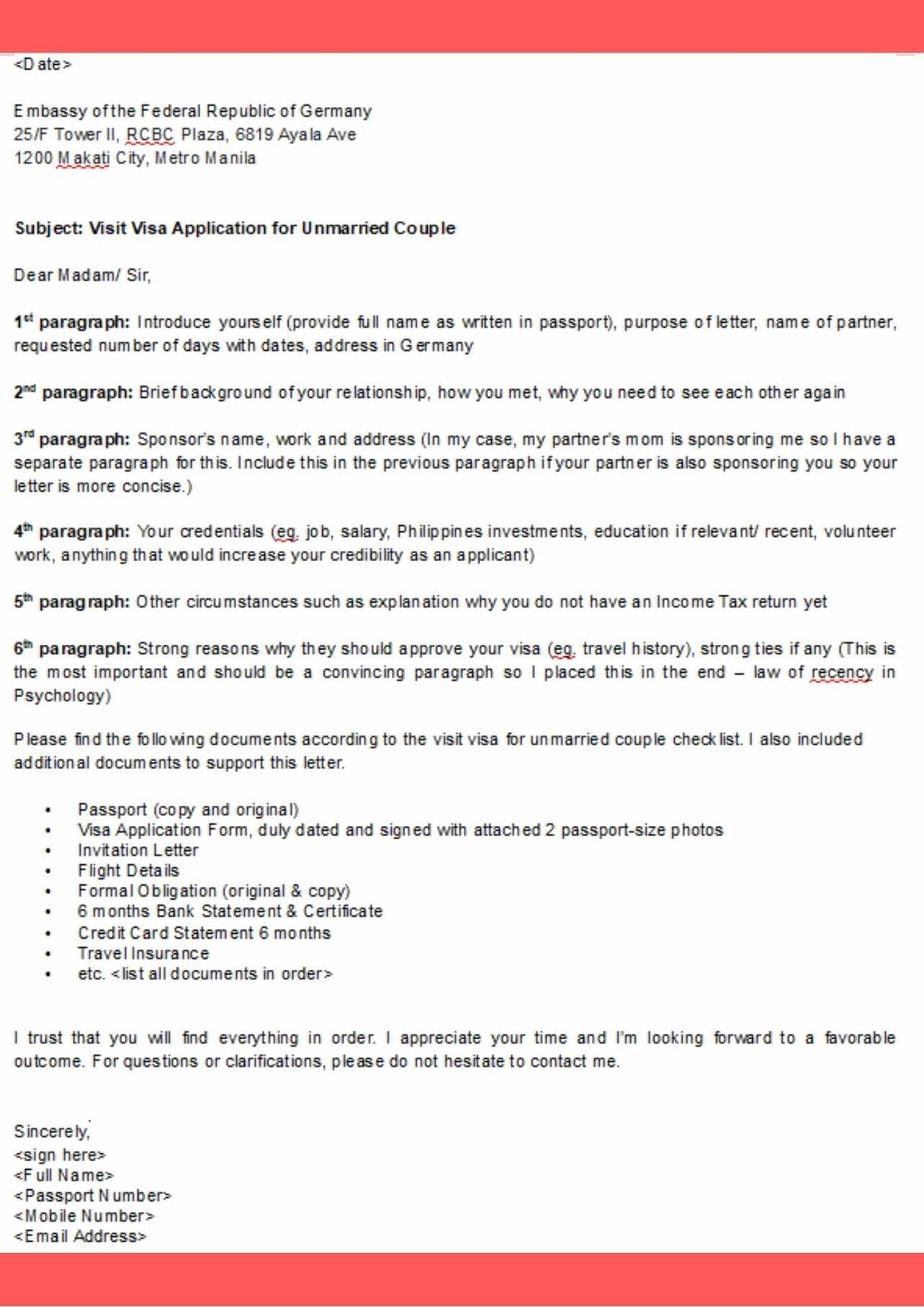 germany visa application cover letter