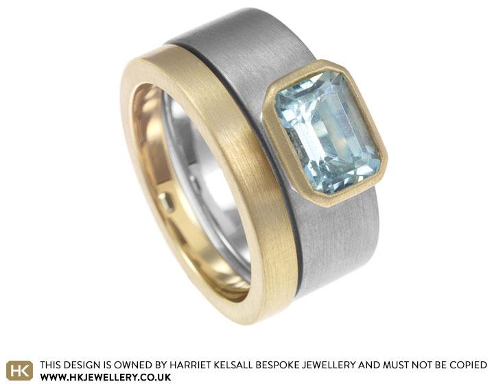 Lisas Aquamarine Mixed Metal Engagement Ring And Wedding