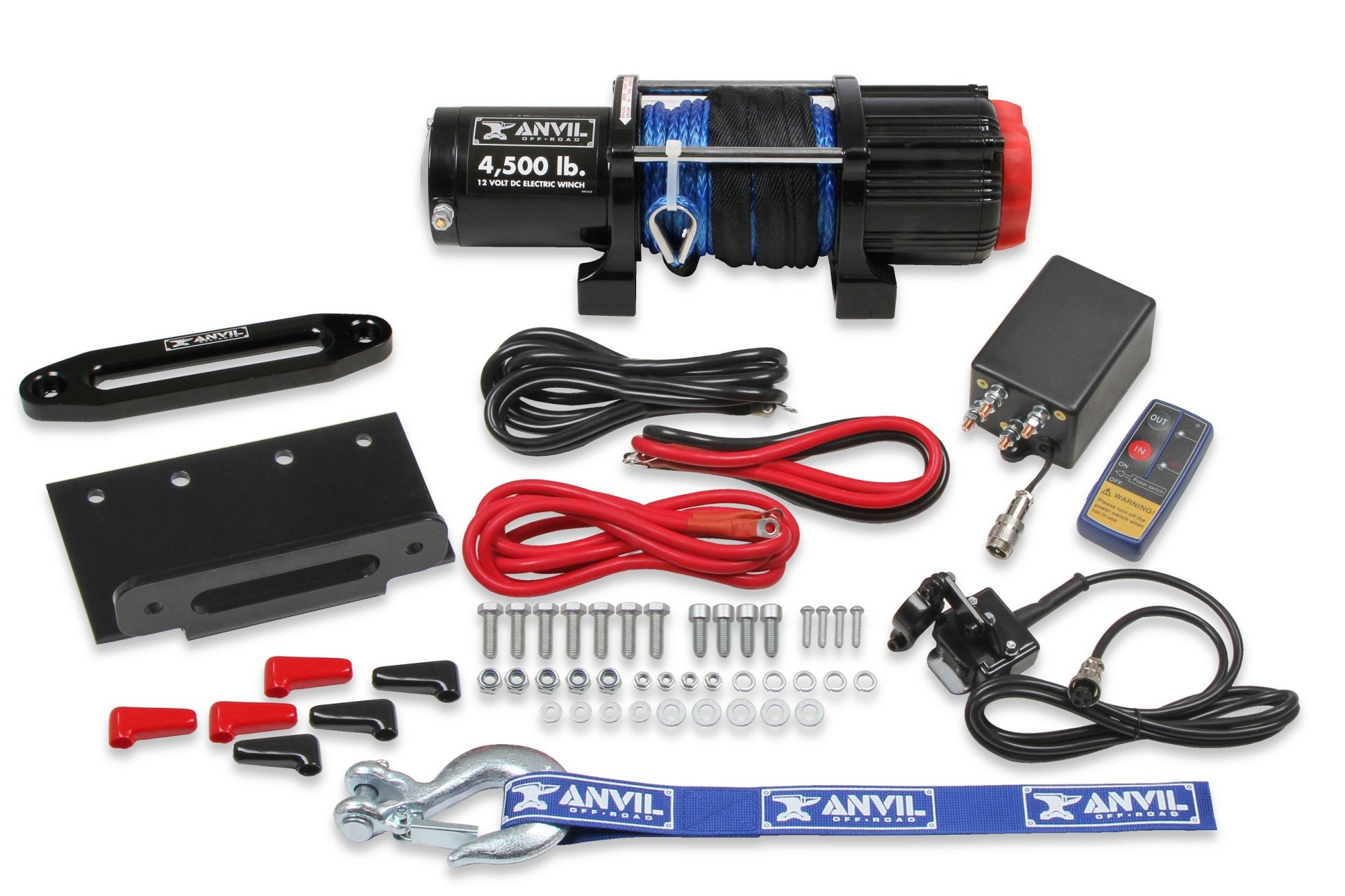 hight resolution of 4510aor anvil 4 500 lbs winch w synthetic rope aluminum fairlead image