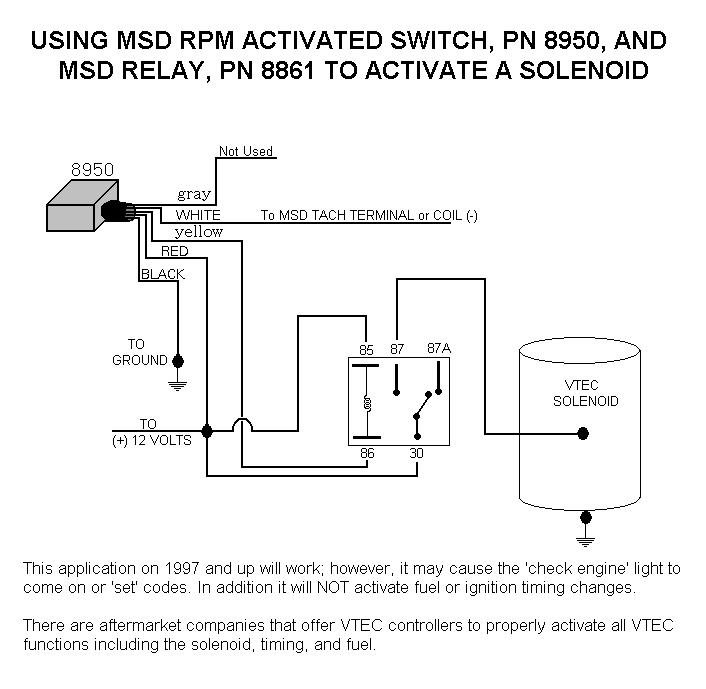 msd wiring diagrams outlet diagram white black honda vtec solenoid with 8950 and relay holley blog