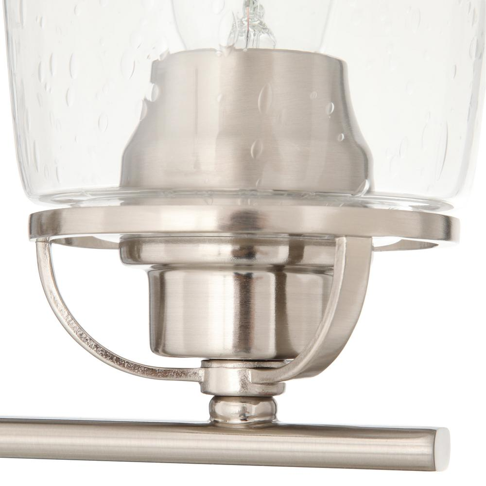 inspiration 32 19 in 4 light brushed nickel bathroom vanity light with glass shades