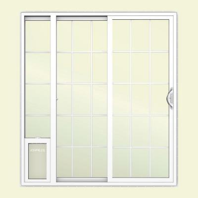 pet door installed in sliding glass