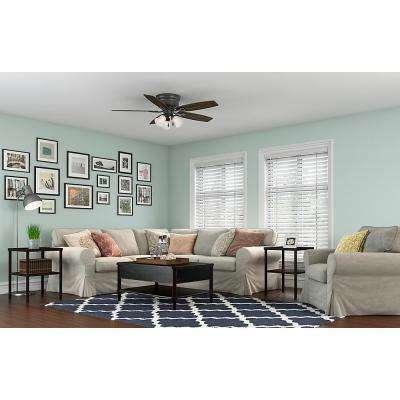 lighting ideas for living room with ceiling fan mini bar fans lights the home depot oakhurst 52 in led indoor low profile new bronze light kit