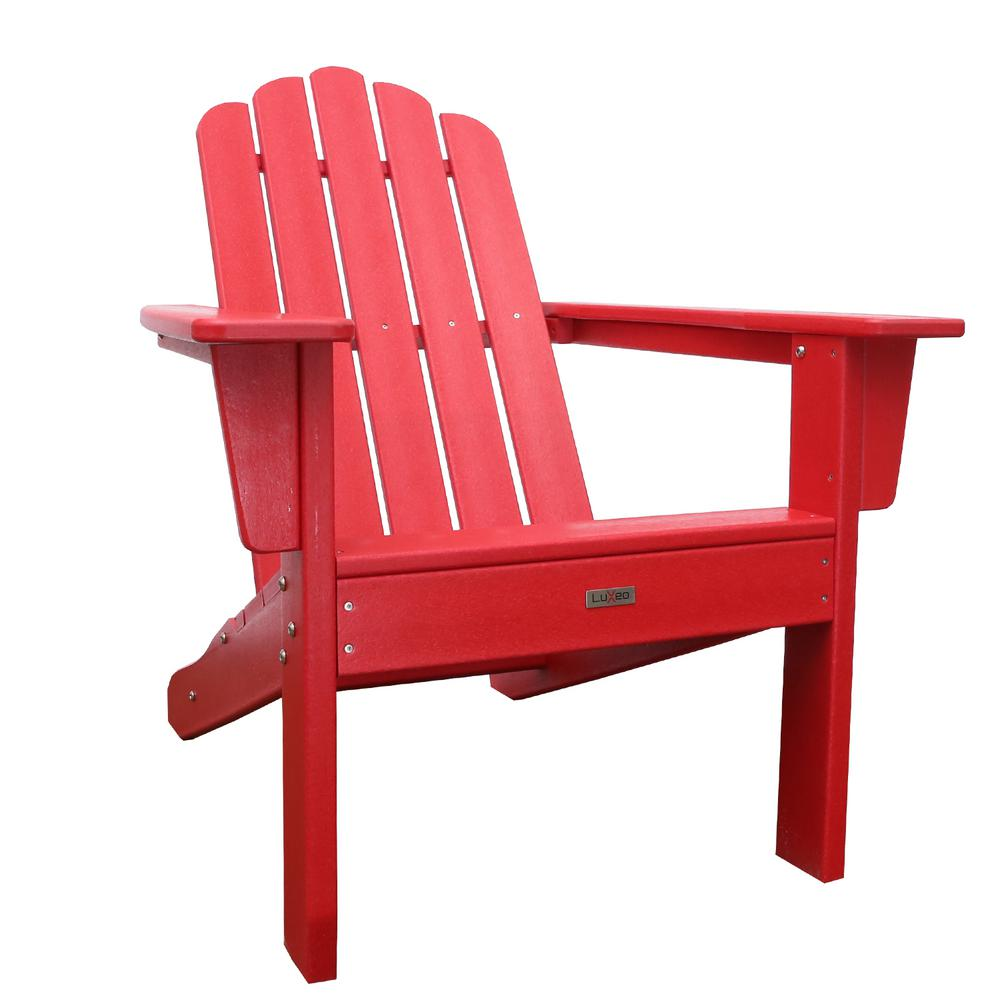 Red Adirondack Chairs Luxeo Marina Red Poly Plastic Outdoor Patio Adirondack Chair