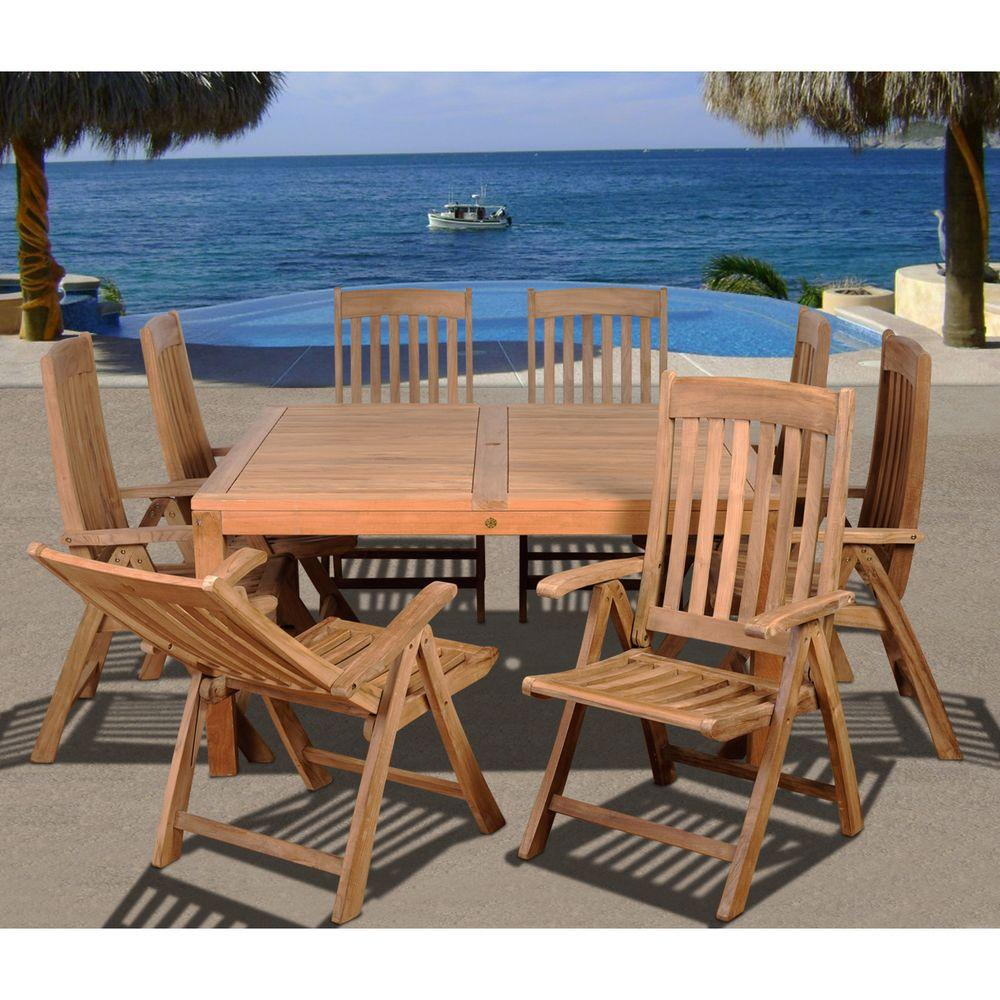 reclining patio chairs and table swing chair dubizzle dining sets furniture the home depot eiffel square 9 piece solid teak set