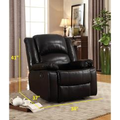 Glider Recliner Chair Relaxing Design Bonded Black Leather 73012bd 96bk The Home Depot