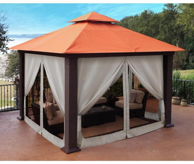 Sunbrella Top Gazebo With Privacy Curtains And Mosquito
