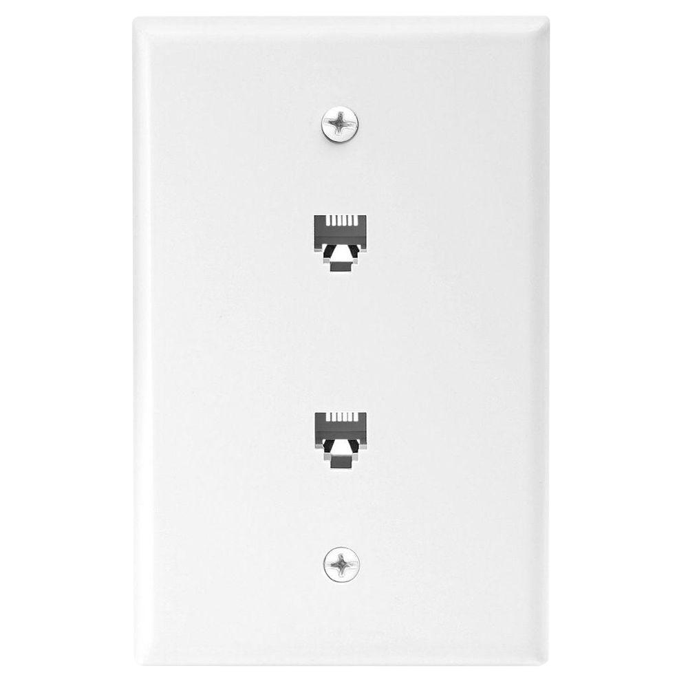 hight resolution of eaton 2 jack mid size telephone jack wall plate and connectors white