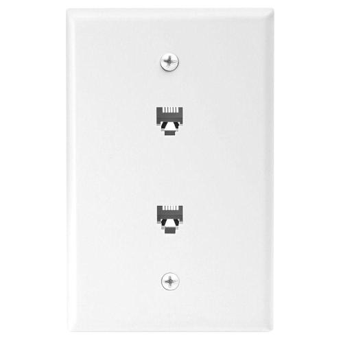small resolution of eaton 2 jack mid size telephone jack wall plate and connectors white