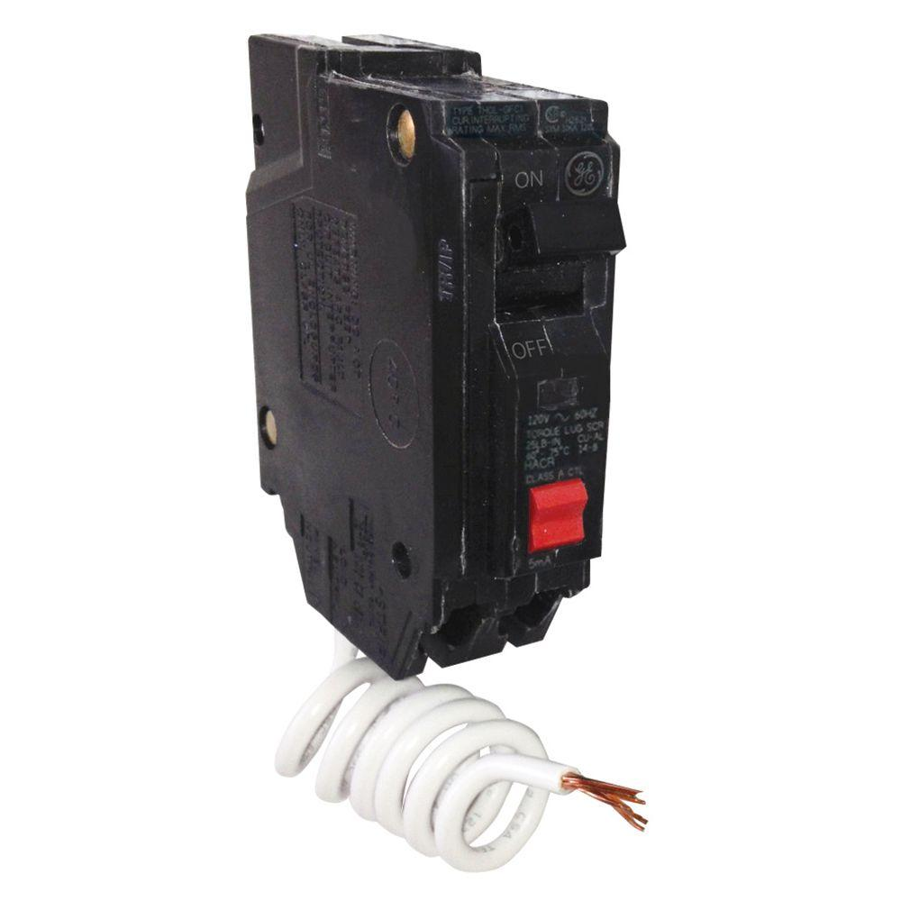 hight resolution of ge 20 amp single pole ground fault breaker with self test thql1120gftp the home depot