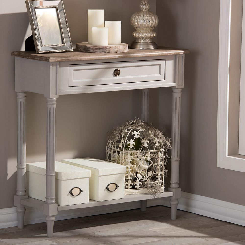 Baxton Studio Dauphine White and Light Brown Storage Console Table288626028HD  The Home Depot