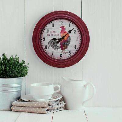 kitchen clocks backslash in wall the home depot round distressed red rooster analog clock