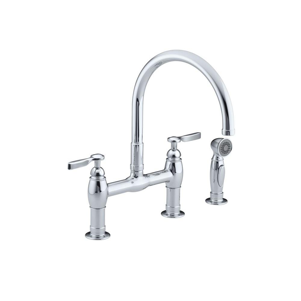 bridge faucets kitchen primal pull out sprayer chrome the parq 2 handle faucet with side in polished