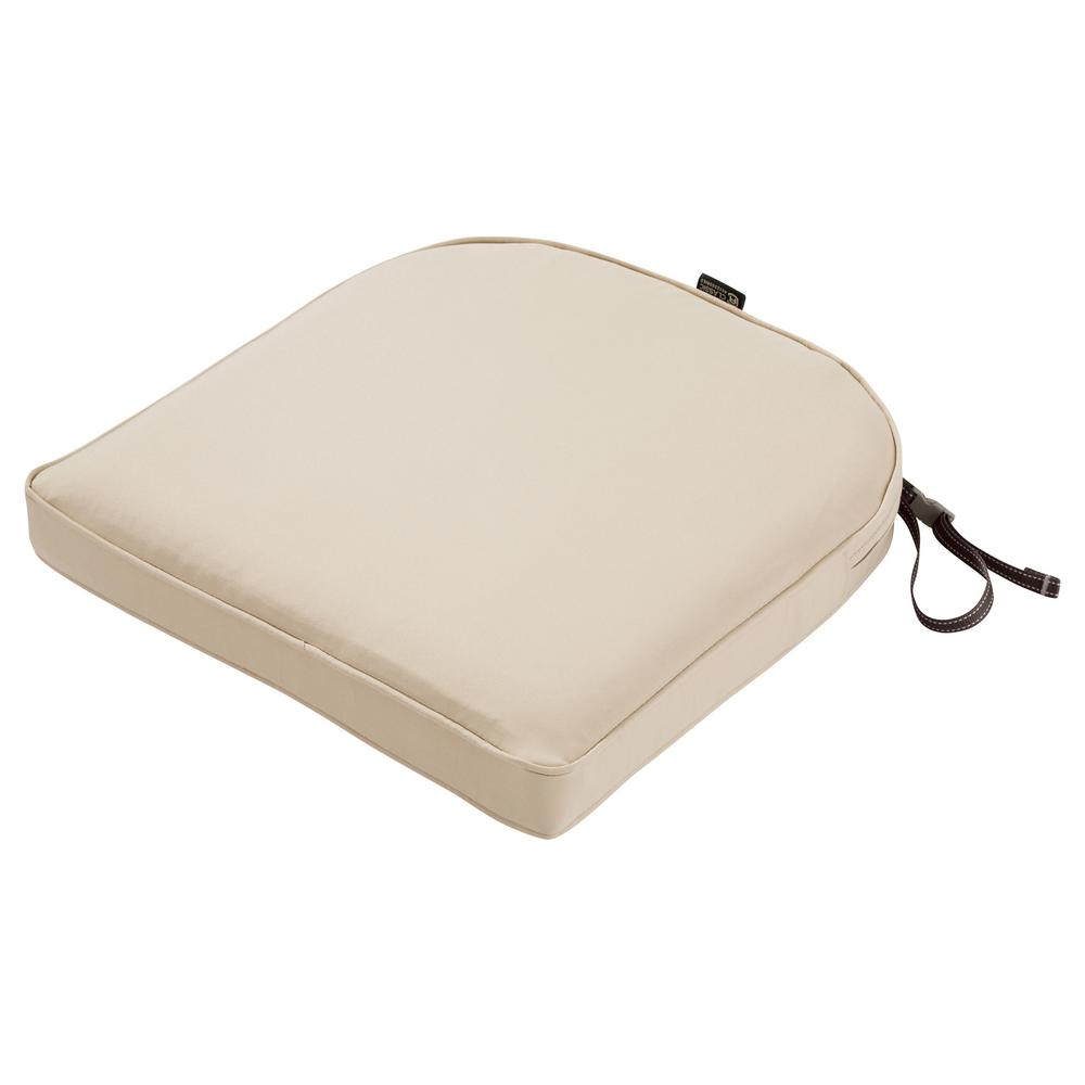 montlake antique beige 20 in w x 20 in d x 2 in thick rounded back square outdoor seat cushion 62 006 beige ec the home depot