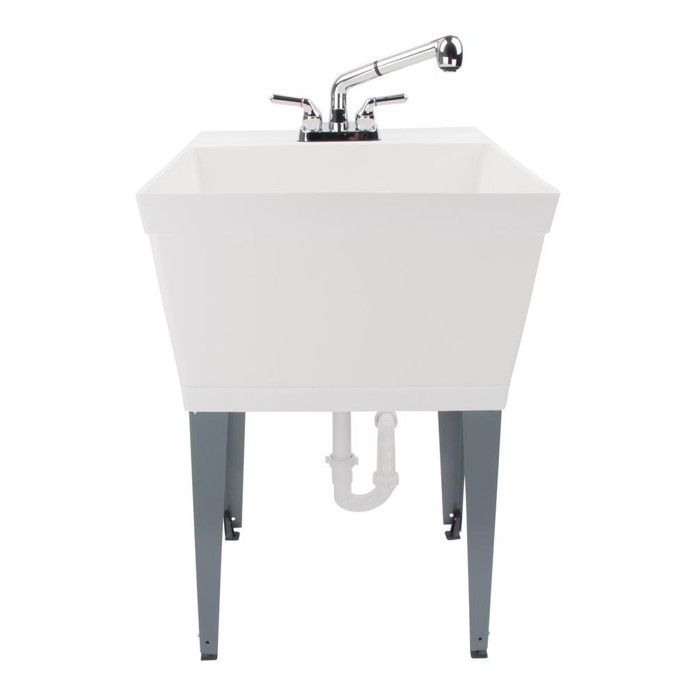 white laundry utility sink tub faucet