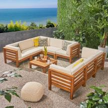 Noble House Jonah Teak 9-piece Wood Outdoor Sectional Sofa