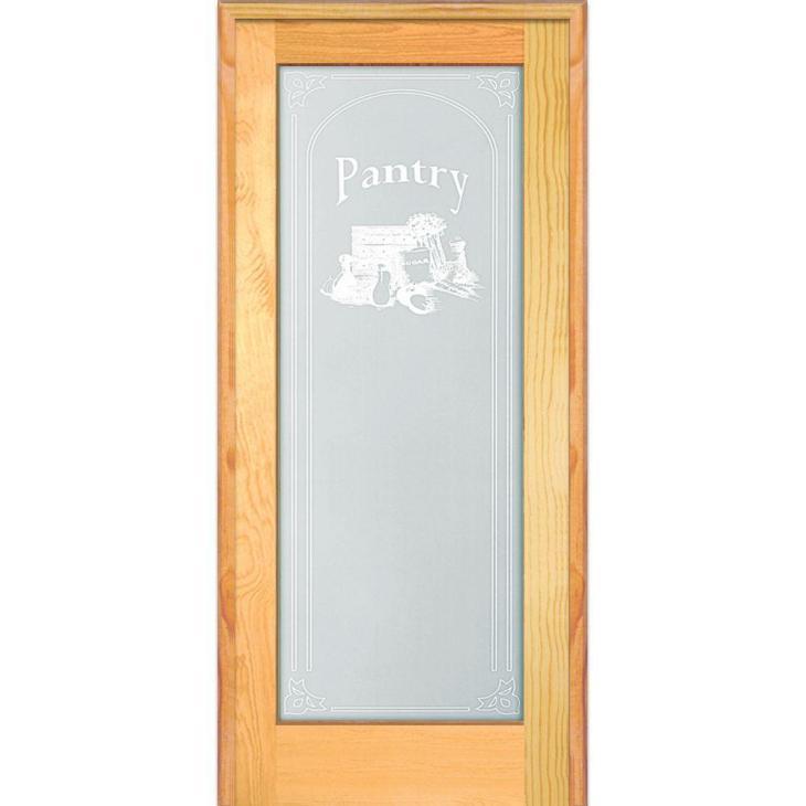 Left Hand Unfinished Pine Full-Lite Frost Pantry Design Single Prehung  Interior Door