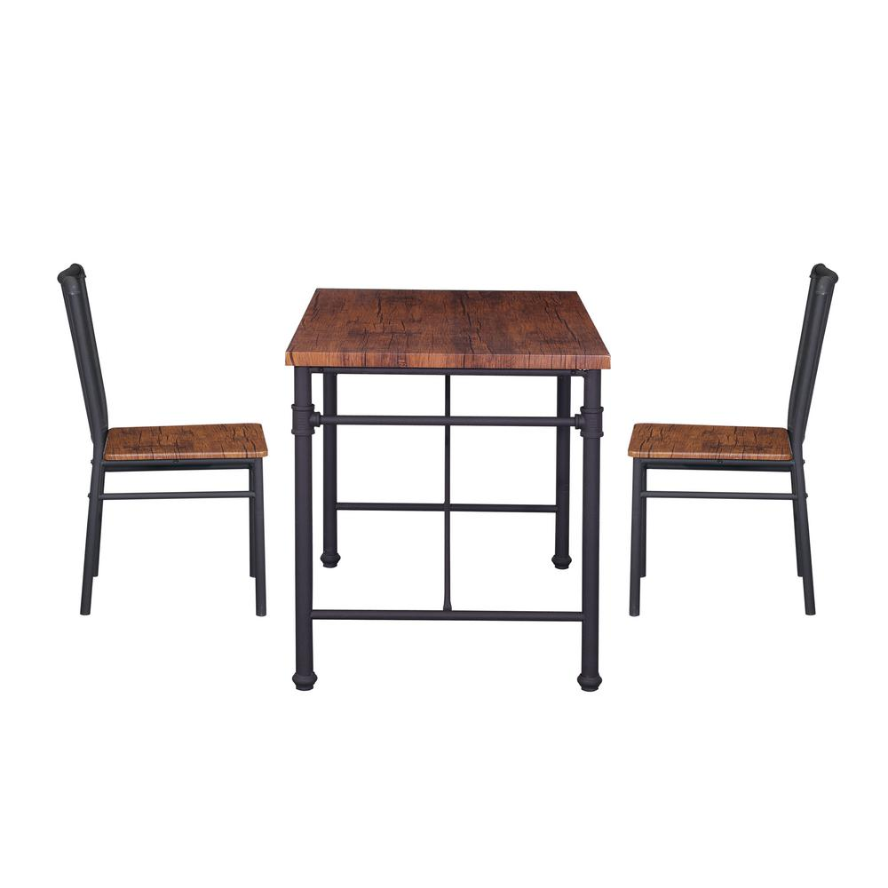 Desk And Chair Set Noble House Balthazar Industrial Brown Faux Wood Desk And Chairs