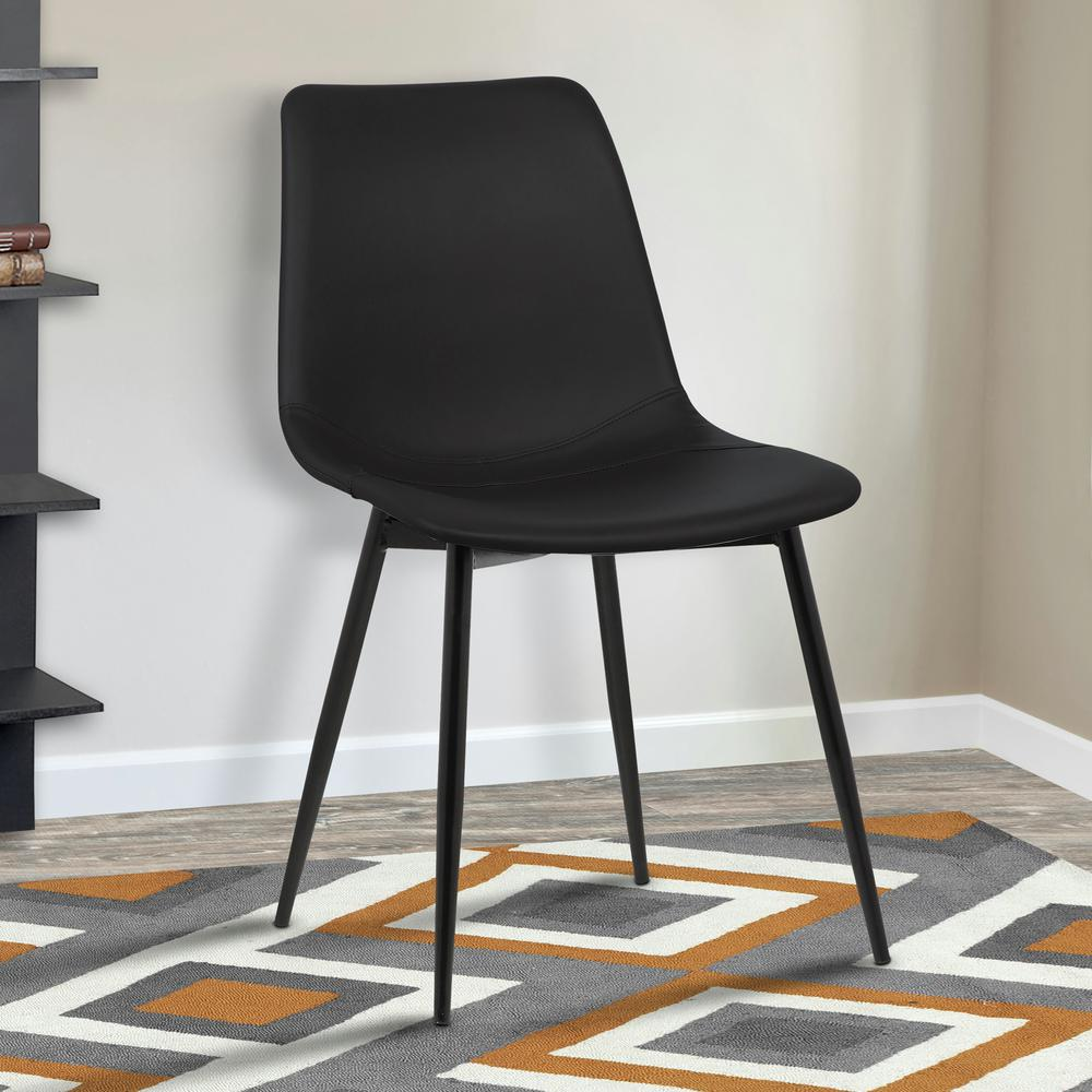 modern gray dining chairs adirondack kits armen living monte 32 in black faux leather and powder coated finish contemporary