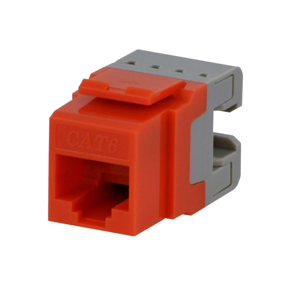 hight resolution of commercial electric category 6 jack orange