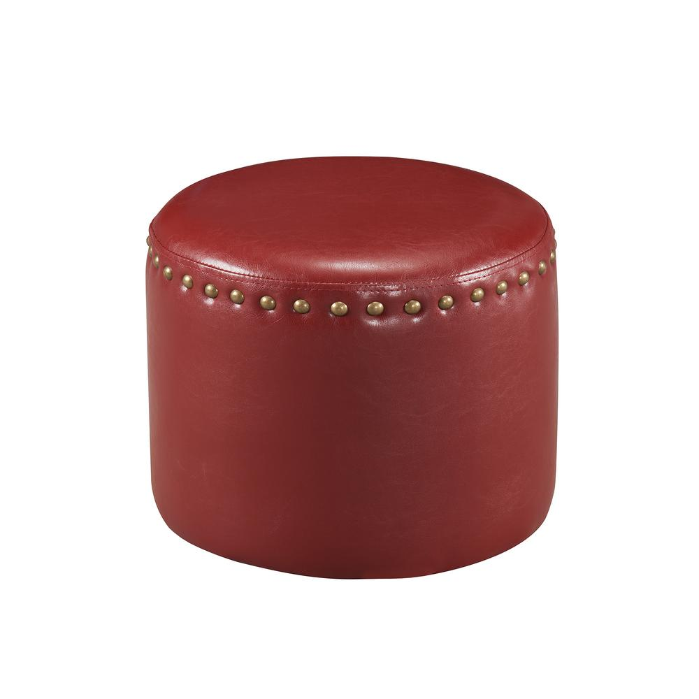 kings brand furniture red nailhead trim faux leather round ottoman r 7123 the home depot