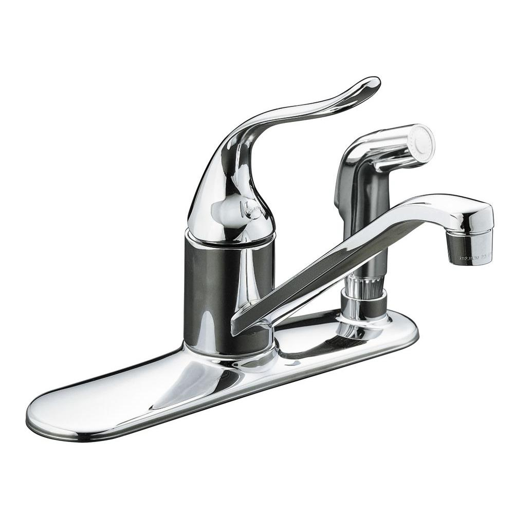 kohler kitchen sink faucets cabinet trim installation coralais low arc single handle standard faucet with side sprayer and escutcheon