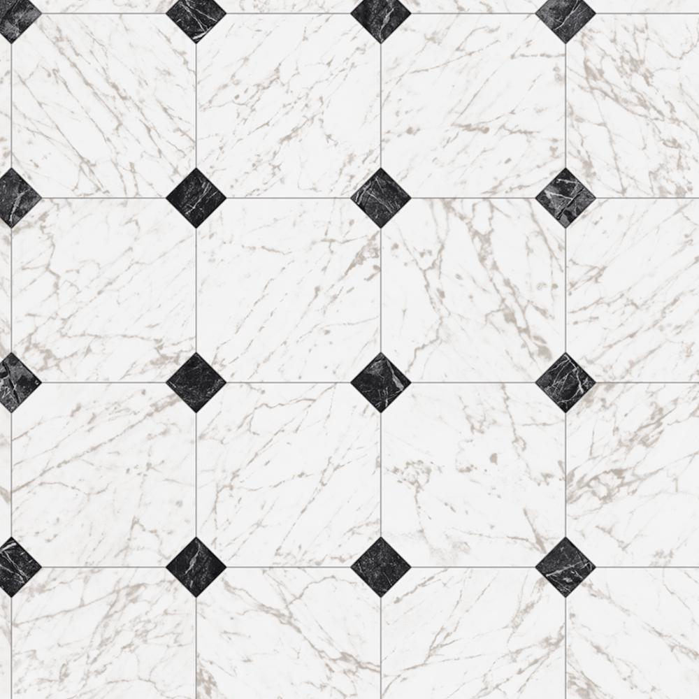 TrafficMASTER Black and White Marble Paver 12 ft. Wide x