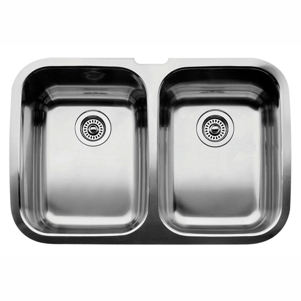 blanco kitchen sink bronze cabinet hardware supreme undermount stainless steel 32 in equal double bowl