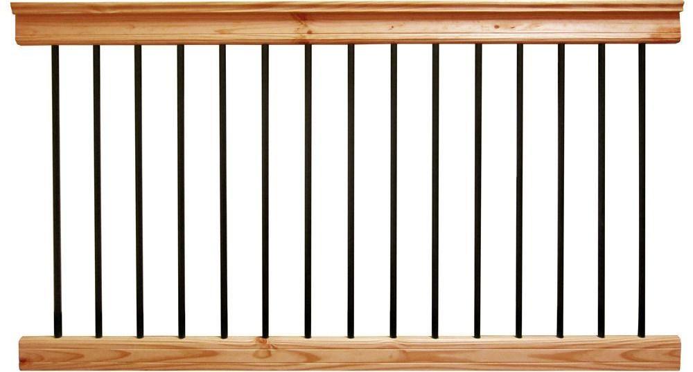 Deckorail 6 Ft Aluminum Cedar Tone Southern Yellow Pine   Outdoor Stair Railing Home Depot