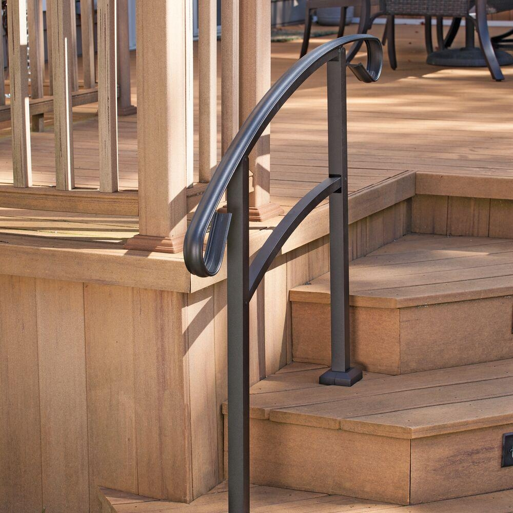 Tuffbilt Handirail 3 57 In X 47 75 In X 3 09 Ft Matte Black 3   Home Depot Handrails For Outdoor Steps   Wrought Iron Stair   Railing Ideas   Metal   Pressure Treated   Iron Railings