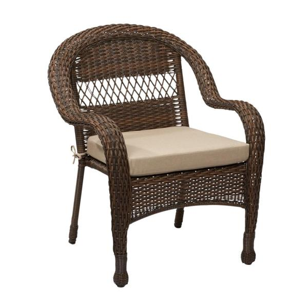 outdoor wicker furniture cushions for chairs Hampton Bay Mix and Match Brown Wicker Outdoor Stack Chair