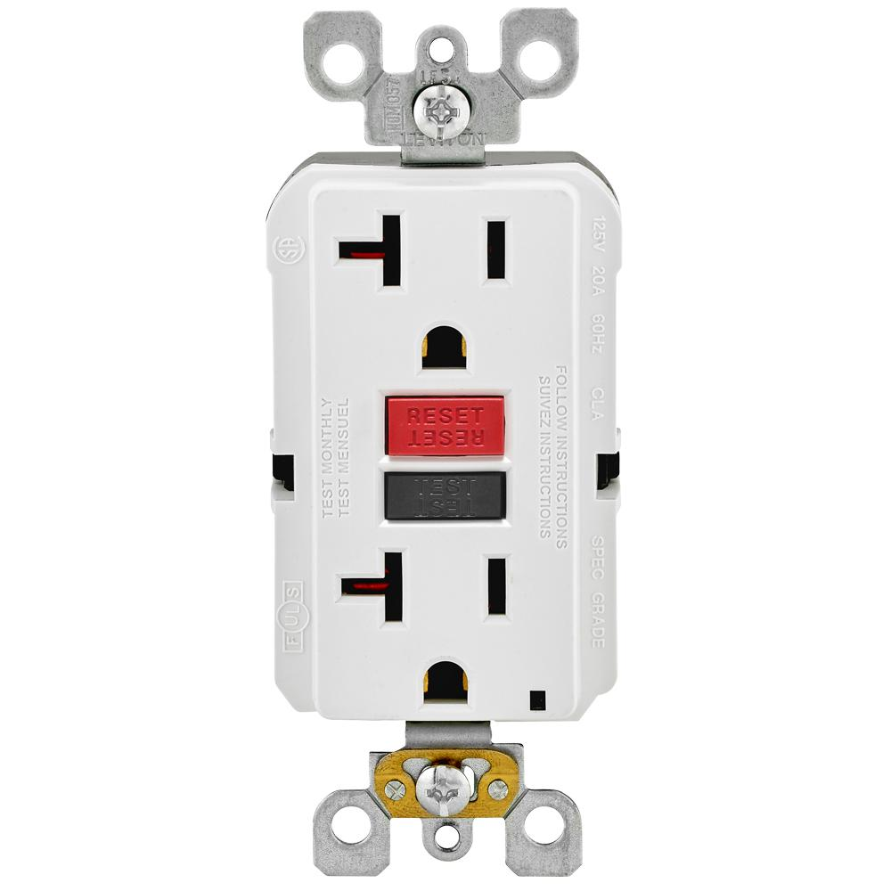 hight resolution of leviton 20 amp self test smartlockpro slim duplex gfci outlet white