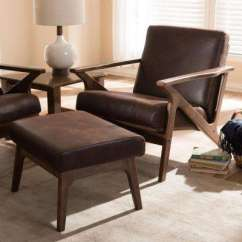 Mid Century Modern Leather Accent Chair Child S Rocking Cushion Set Brown Removable Cushions Chairs Bianca Dark And Walnut Lounge Ottoman