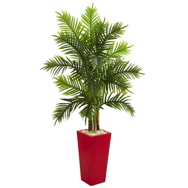 Natural Indoor 5.5 Ft. Areca Palm Artificial Tree In Red Planter Real Touch-5647