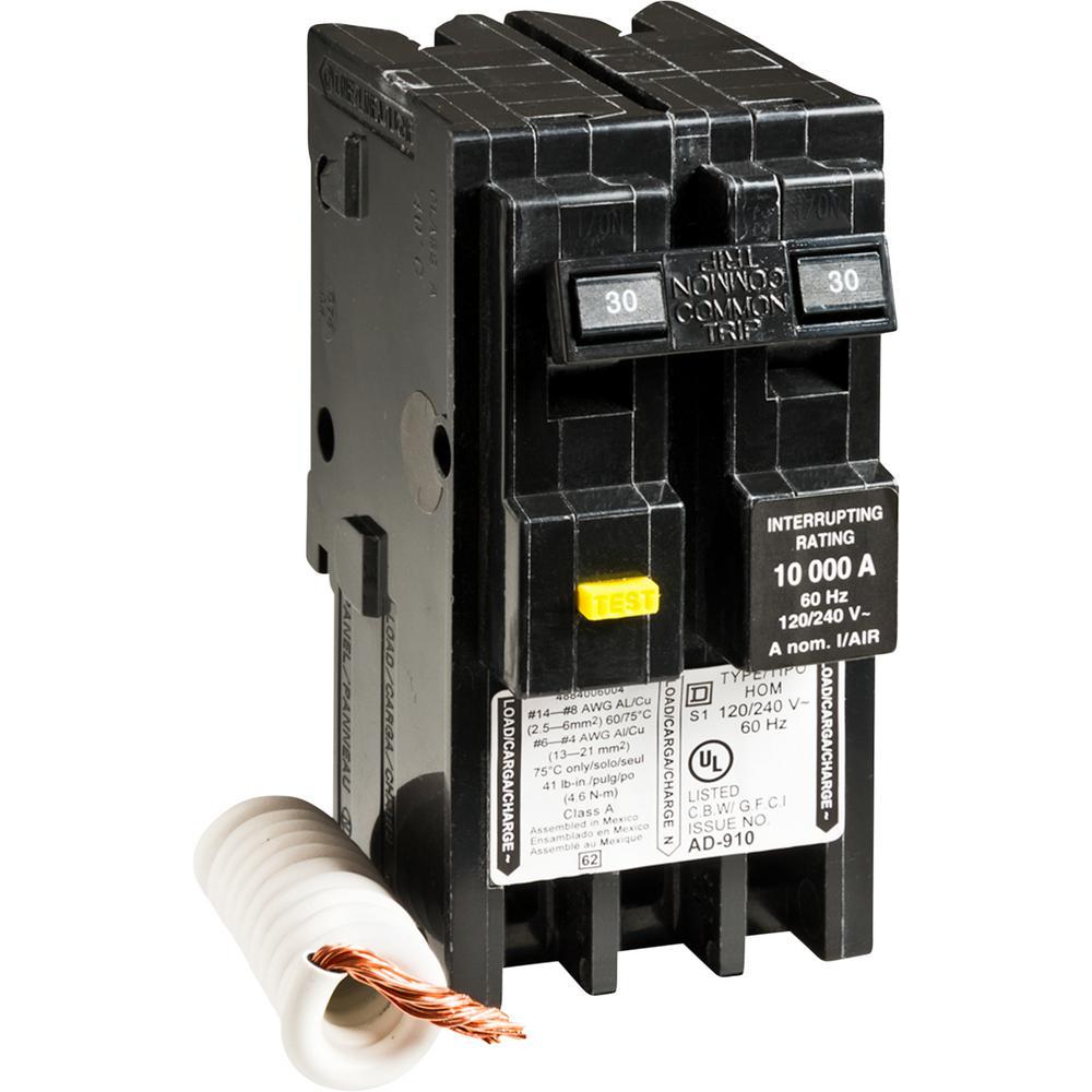 medium resolution of square d homeline 30 amp 2 pole gfci circuit breaker hom230gfic double pole breaker diagram 30 amp 2 pole breaker wiring diagram