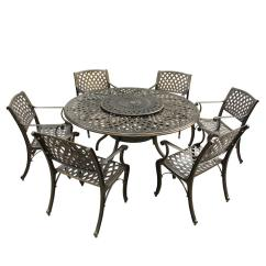 6 Chair Dining Set Massage Computer Contemporary Modern 7 Piece Bronze Aluminum Outdoor With Lazy Susan And Chairs Hd1022 1016 Bz The Home Depot