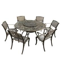 Contemporary Modern 7-piece Bronze Aluminum Outdoor Dining