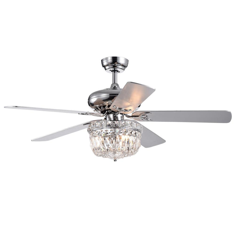 Warehouse of Tiffany Galileo 52 in Chrome Crystal Bowl Shade Ceiling Fan with Light Kit and