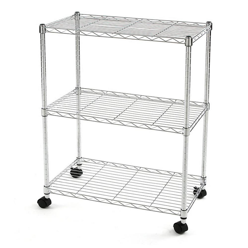 Excel 28 in. H x 24 in. W x 14 in. D 3-Tier Wire Chrome