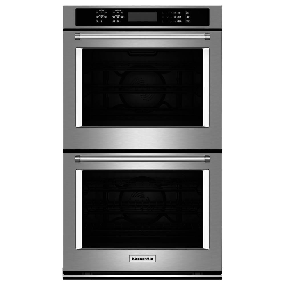 kitchen aid ovens l shaped island kitchenaid 30 in double electric wall oven self cleaning with convection stainless steel