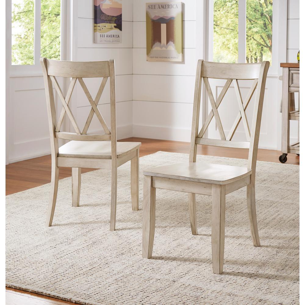 HomeSullivan Sawyer Antique White Wood XBack Dining Chair