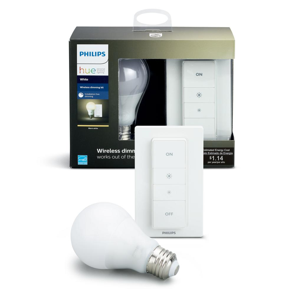 hight resolution of hue smart wireless dimming kit 1 a19 led 60w equivalent warm white bulb and