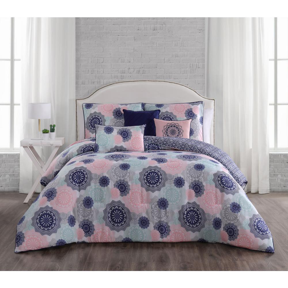 lorna 6 piece navy blush queen comforter set