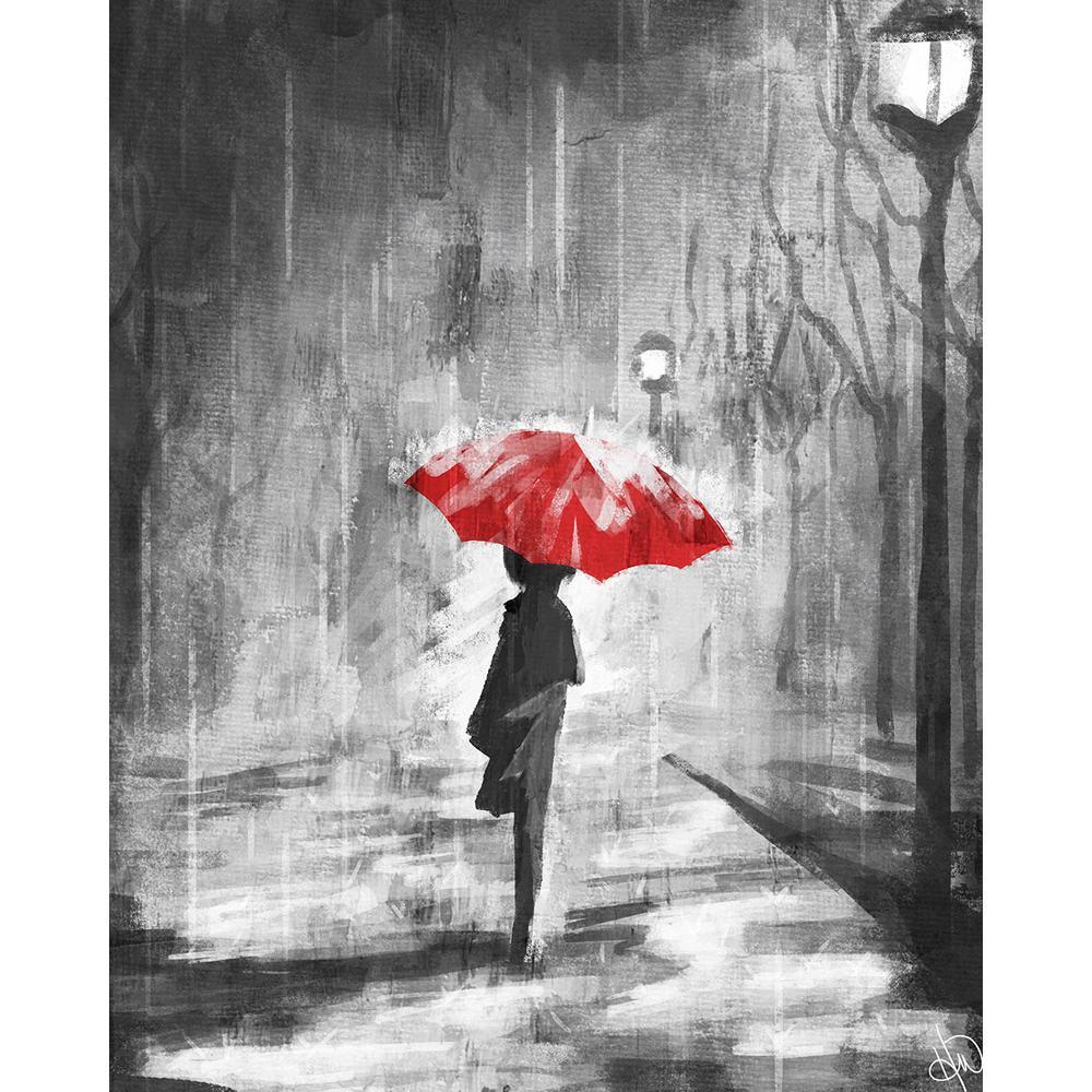 creative gallery in x in a rainy walk red umbrella acrylic