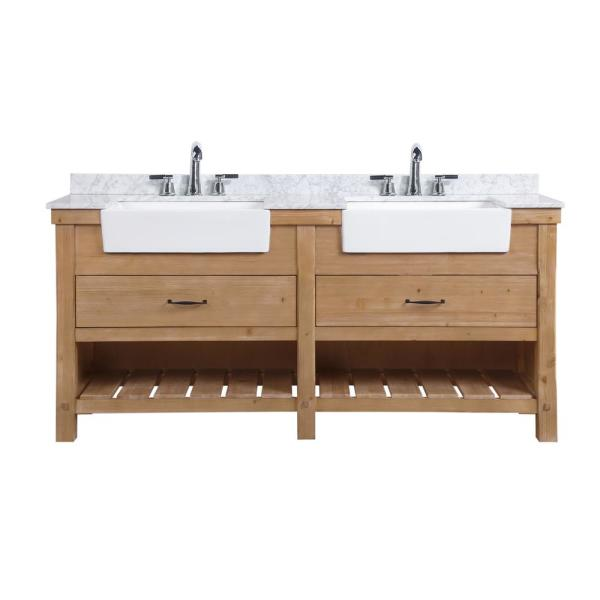 Ari Kitchen And Bath Marina 72 In Double Bath Vanity In Driftwood With Marble Vanity Top In Carrara White With White Farmhouse Basins Akb Marina 72dw The Home Depot