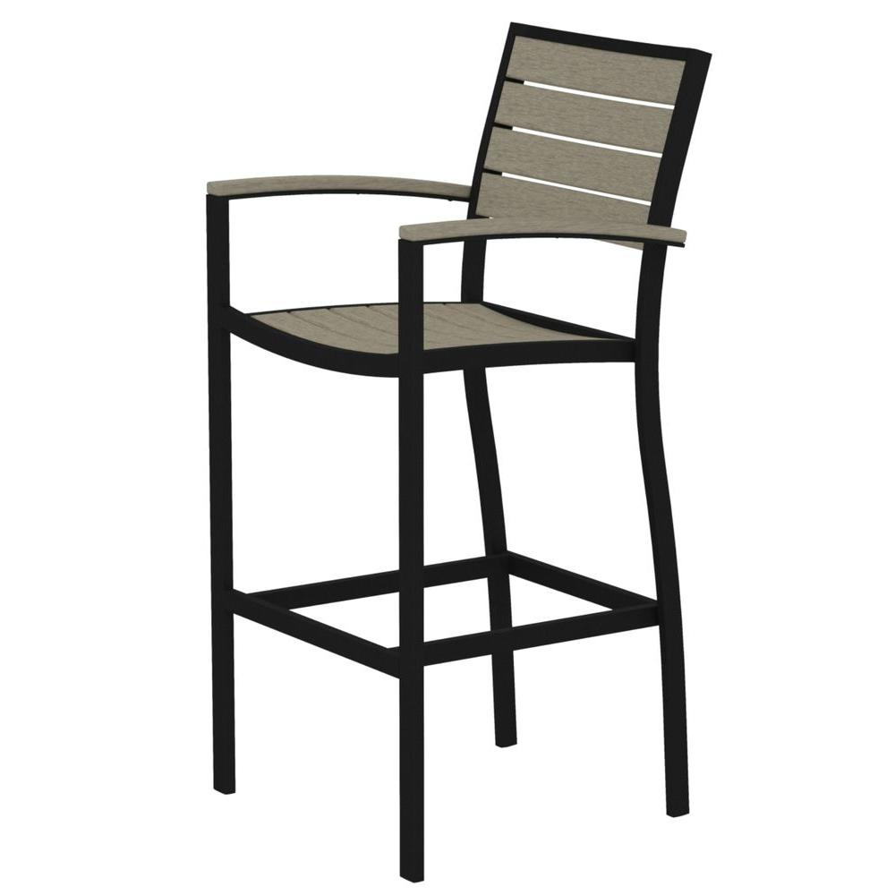 nice chair stool indoor rattan with ottoman outdoor bar stools furniture the home depot euro textured black all weather aluminum plastic arm in sand