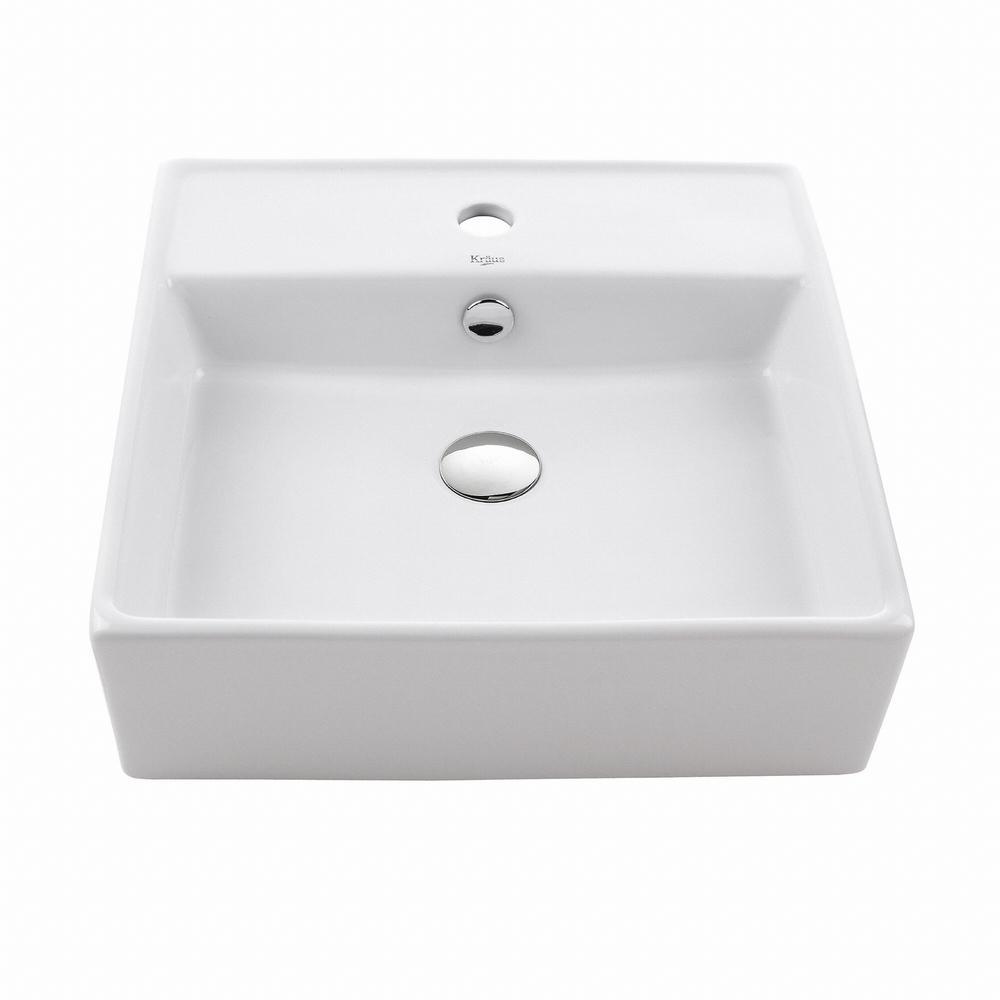 KRAUS Square Ceramic Vessel Bathroom Sink in WhiteKCV150