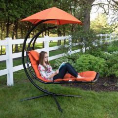 Outdoor Dream Chair Zero Gravity Reclining Review Vivere Original Single Motion Patio Lounge With Orange Zest Cushion