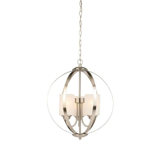 3 Light Brushed Nickel Chandelier With Etched White Glass Shades
