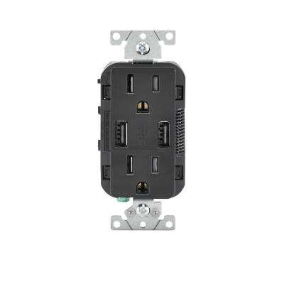 leviton decora 3 way switch wiring diagram pioneer avic n2 2 combo electrical outlets receptacles devices 15 amp combination tamper resistant duplex outlet and usb charger black